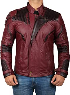 Star Distressed Leather Jacket Men's - Maroon Costume Jacket