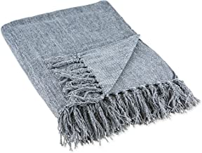 DII Chenille Throw Collection Solid Fringed, 50x60, Denim Blue