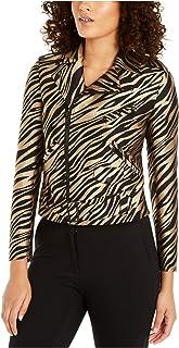 ANNE KLEIN Womens Beige Zippered Belted Printed Bolero Jacket AU Size:4