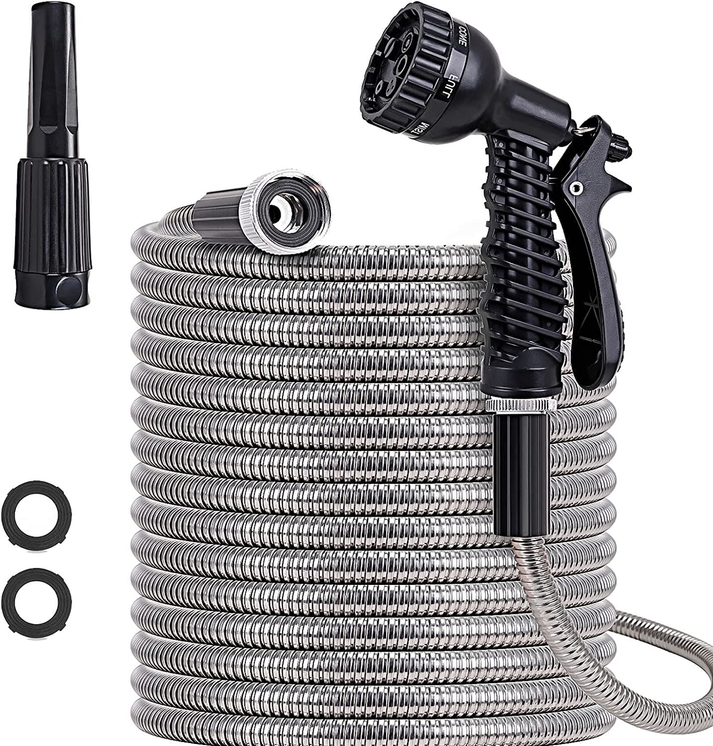 SIXWOOD Metal Garden Hose 100FT, Stainless Water Hose with Adjustable Nozzle and 7 Pattern Sprayer, Heavy Duty Hoses for Yard, Outdoor - Flexible, Never Kink & Tangle, Puncture Resistant