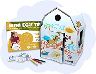Ondule Kids Cardboard Barn to Color with Stickers and Colored Pencils. Creativity and Imagination for Kids, Craft kit, eco...