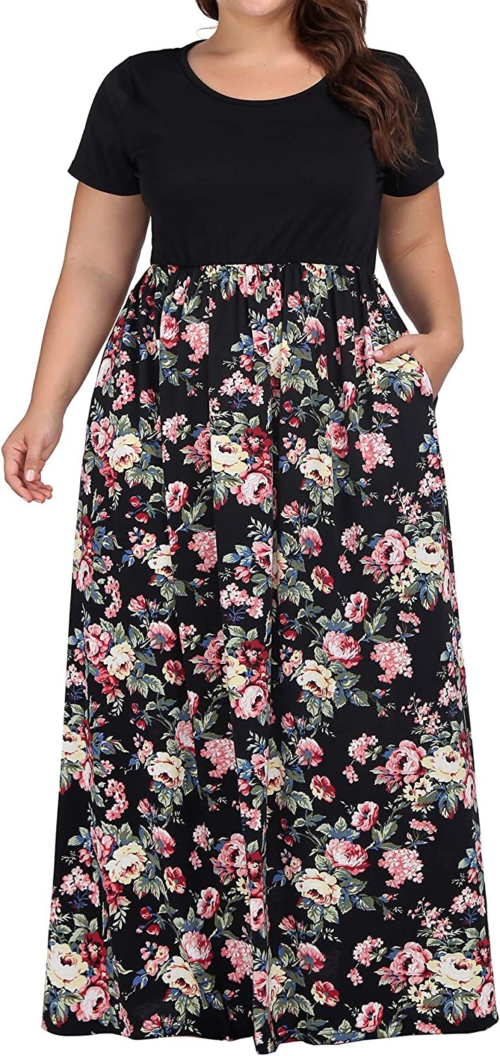 kissmay Women's Plus Size Casual Short Sleeve Floral Maxi Dresses with Pockets