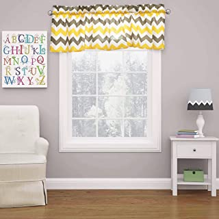 Crabtree Collection Kitchen Window Valances Kitchen Curtains Gray Yellow Chevron Window Valance Curtains (16x60)
