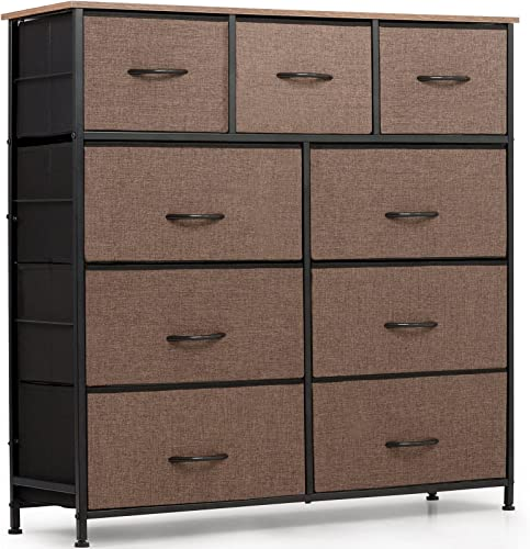 wholesale ODK Dresser with 9 Drawers, Fabric Storage Tower, Organizer Unit for Bedroom, lowest Hallway, Entryway, Closets, Sturdy Steel Frame, Wood Top, Easy Pull Solid online sale Handle, Brown online