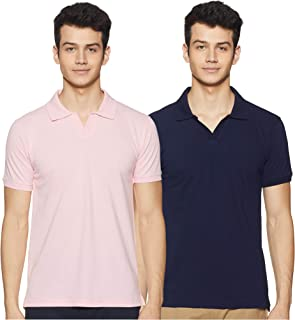 Amazon Brand - Symbol Men's Solid Regular fit Polo T Shirt (Pack of 2)