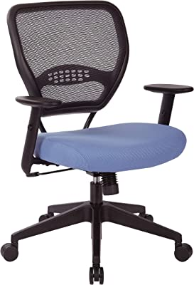 Space Seating 55 Series Professional Black Air Grid Back Adjustable Manager's Chair with Lumbar Support and Padded Violet Fabric Seat