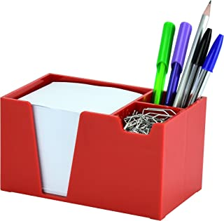 Acrimet Desk Organizer Pencil Paper Clip Holder (Solid Red Color) (With Paper)