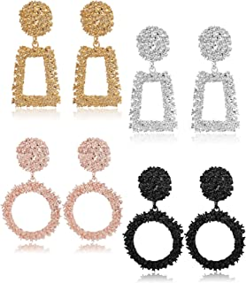 Finrezio 4 Pairs Metal Statement Earrings for Women Teen Girls Raised Design Large Rose Gold Black Silver Gold Geometric Drop Earrings