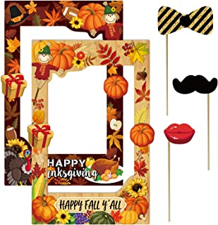 2 in 1 Thanksgiving Photo Booth Props Frame Party decorations Happy F'all Year Selfie Photo Booth Picture Frame and Props for Thanksgiving party supplies