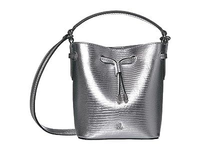 LAUREN Ralph Lauren Debby III Drawstring Mini (Silver Embossed Leather) Handbags