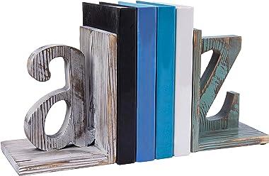 MyGift Shabby Chic Vintage White & Blue Wood Alphabet Bookends