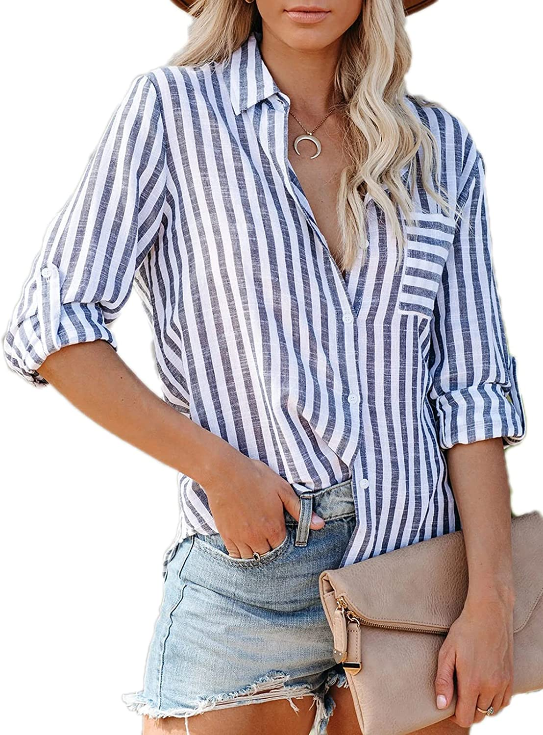 Paintcolors Women's Stripes Button Down Shirts Roll-up Sleeve Tops V Neck Collared Casual Work Blouses Tunics with Pockets