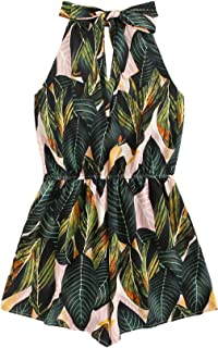 SheIn Women's Tropical Floral Tie Back Belted Halter Romper Boho Sleeveless Playsuit Summer Jumpsuit Casual Jumper