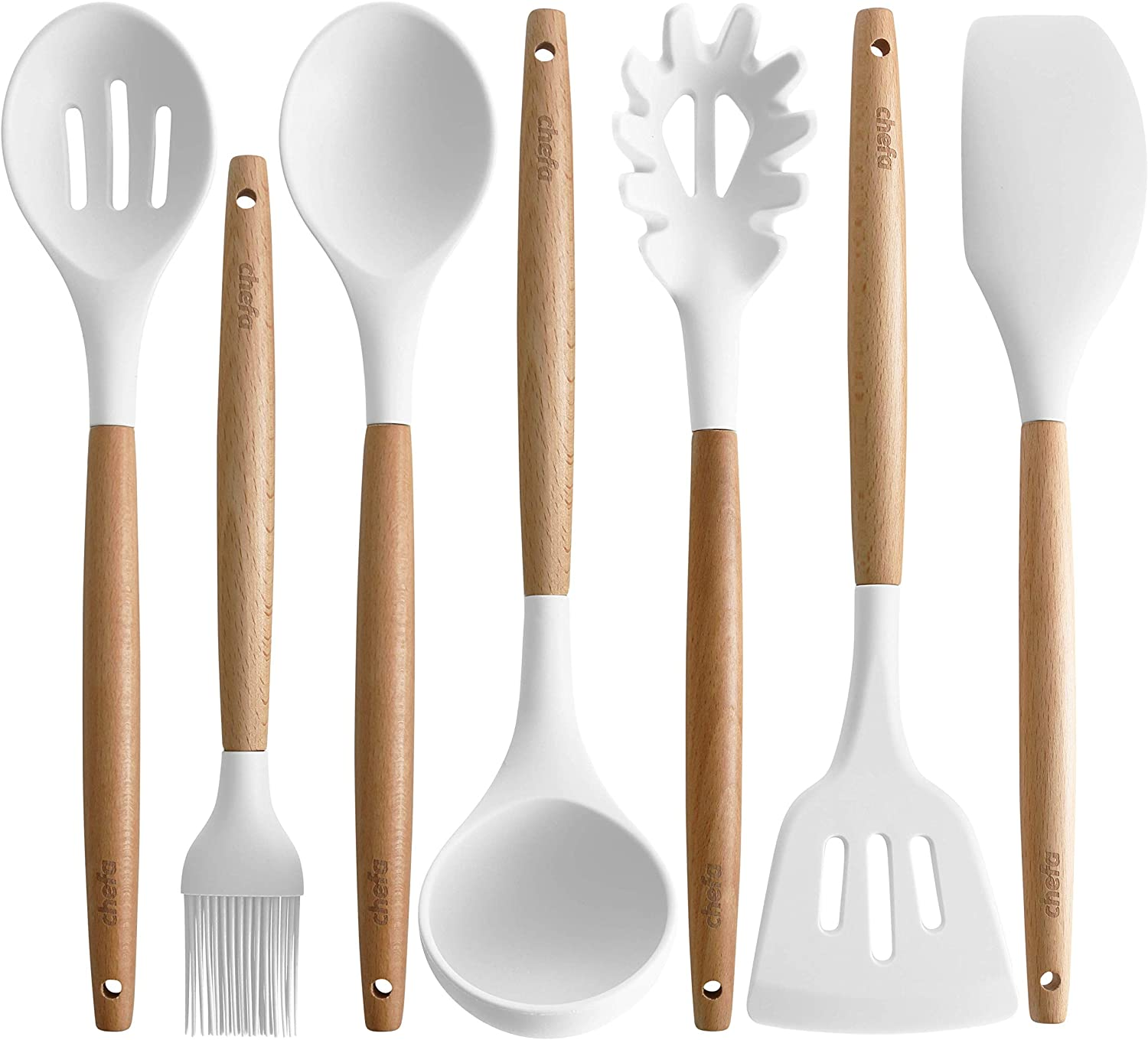 Silicone Cooking Utensils   Wooden Handle, Non-Stick Cookware Heat Resistant Kitchen Utensil Spatula, Slotted & Solid Spoon, Soup Ladle, Slotted Turner and Spaghetti Server
