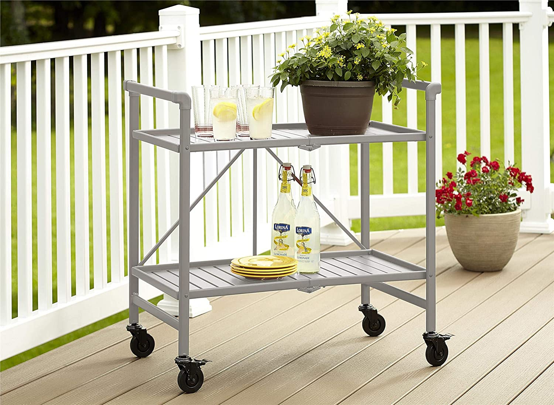 Cosco Indoor Outdoor Serving Cart, Folding, Silver