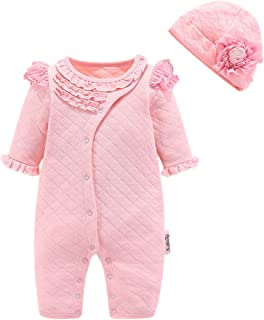 Fairy Baby 2Pc Newborn Baby Girls Outfit Thick Romper One Piece Jumpsuit Ruffle Pajamas Set