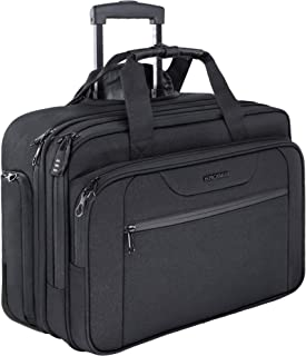 KROSER Rolling Laptop Bag Premium Wheeled Briefcase Up to 17.3 Inch Laptop Water-Proof Overnight Roller Case Computer Bag with RFID Pockets for Travel/Business/School/Men/Women-Black