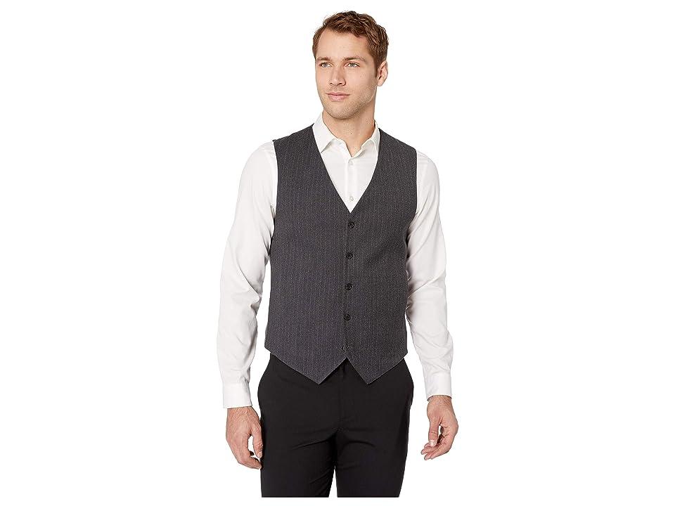 Perry Ellis Slim Fit Stretch Heathered Stripe Vest (Charcoal) Men