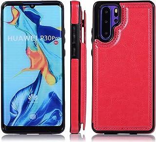 Molg Huawei P40 Fodral Dubbel Spänne Ren Färg Höggradig PU Läder Omslag [Två Magnetlås] [Kortplatser] Repfri Stötsäker Fal...