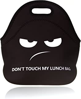 BRILA Lunch bag - Waterproof Insulated Neoprene Lunchbox Tote bag with design - Zipper Closure (don't touch my lunch bag)