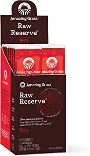 Amazing Grass, Raw Reserve Green Superfood Organic Powder with Wheat Grass and Greens, Flavor: Berry, Box of 15 Individual Servings