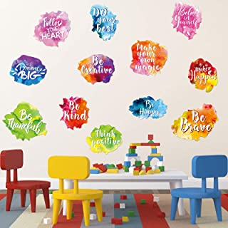 6 Pieces Colorful Inspirational Wall Decal Watercolor Inspirational Quote Wall Sticker Motivational Lettering Sticker for ...