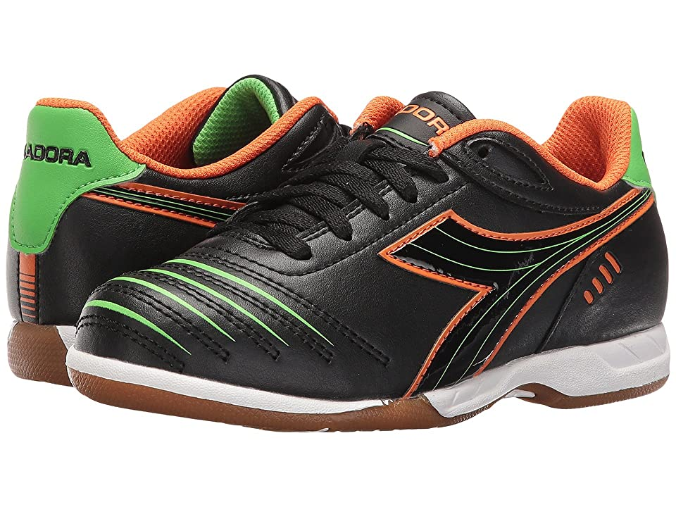 Diadora Kids Cattura ID JR Soccer (Little Kid/Big Kid) (Black/Orange/Lime) Kids Shoes