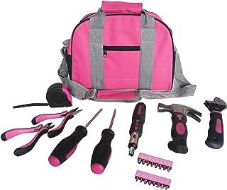 Ladies Pink Tool Kit Tool Bag DIY Set Includes Pink Hammer, Pink Pliers, Pink Screwdrivers in Pink Carry Case 25pcs