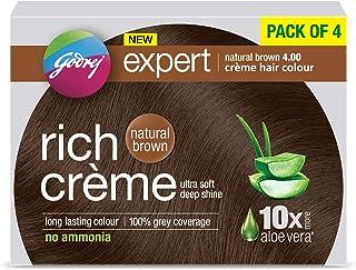 Godrej Expert Rich Crème Hair Colour Shade 4 NATURAL BROWN, Pack of 4
