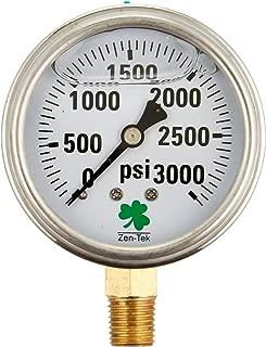 Zenport LPG3000 Zen-Tekグリセリン液体充填圧力計、3000 Psi