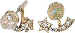 Betsey Johnson Crystal and Gold Shooting Star Front Back Earrings
