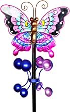 Exhart Purple Butterfly Wind Spinner Garden Stake - Hand-Painted Butterfly Spinners in Purple, Blue, Black, Brown and Yellow - Kinetic Art Vertical Spinners in Metal Butterfly Design, 8 x 38 Inches