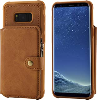 Samsung S8+ S8Plus Cover Case,Brown Cash Card Sleeve Large Capacity Leather Protective Kickstand Durable Shell Women Men Boy Girl for Galaxy S8 Plus