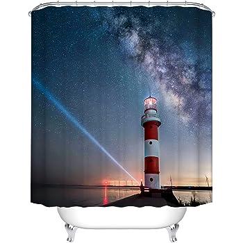 "72X72/"" Seaside Lighthouse Shower Curtain Waterproof Fabric Bathroom Decoration"