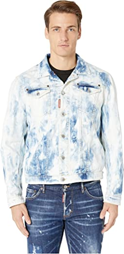 Shreaded Bleach Wash Denim Jacket