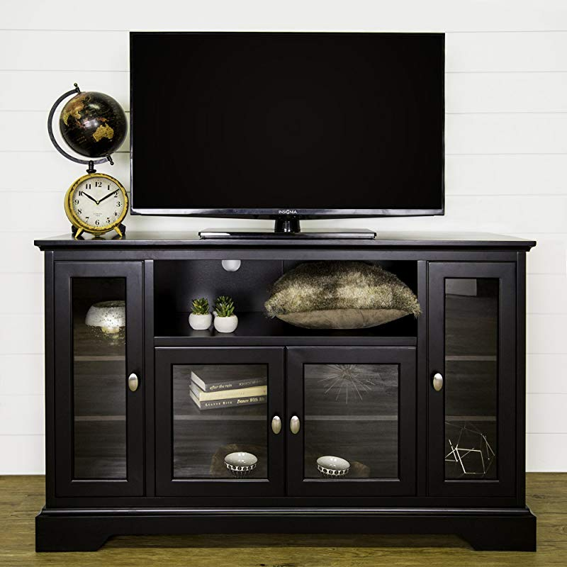 WE Furniture Rustic Brown 52 Wood Modern Highboy Style Tall TV Stand For Flat Screen TV S Up To 65 Entertainment Center