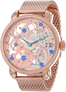 Automatic Skeleton Mechanical Men's Watch - See Through Dial with IP Case with A Skeletonized Dial on Luxury Mesh Bracelet - AK526