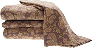 La Rochelle Printed Heathered Flannel Paisley Sheet Set, Queen, Brown