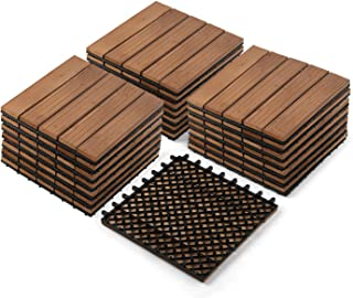 Partuys Solid Wood Tile Flooring 22PCS, Hardwood Deck Patio Pavers Interlocking Wood Composite Patio Tiles for Outdoor & Indoor, Stripe Pattern 12 x 12""