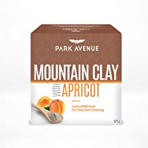Park Avenue Mountain Clay with Apricot Luxury Soap For Deep Cleanse & Gentle Exfoliation, Removes Blemishes & Absorbs Excess Oil, No Suphates & Parabens, 125gm