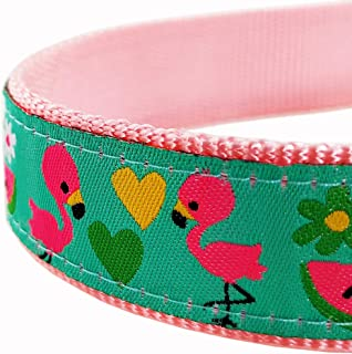 Bestbuddy Pet Flamingo Bird Nylon Ribbon Dog Collar Pet Collar Trendy Comfortable Adjustable Dog Collar with Buckle BBP043