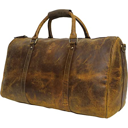 Leather Travel Duffel Bags for Men - Holdall Airplane Underseat Carry On Luggage by Rustic Town (Yellowish Brown)