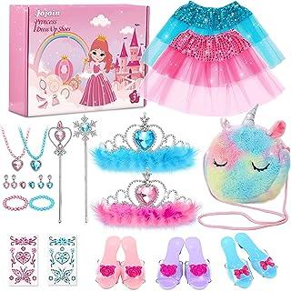 Jojoin Chaussures de Princesse Fille, Princesse Déguisement Accessoires avec 3 Paires de Chaussures, 1 Licorne Sac , 2 Jup...