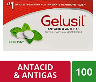 Gelusil Antacid Tablets for Heartburn Relief, Acid Reflux and Anti-Gas, Cool Mint - 100ct Blister Pack