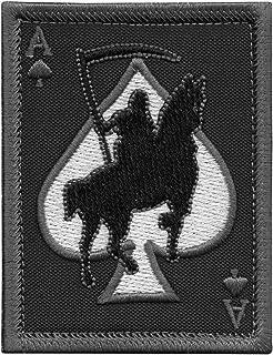 LEGEEON ACU Subdued Ace of Spades Grim Reaper Death Card Morale Tactical Skull Skeleton Fastener Patch