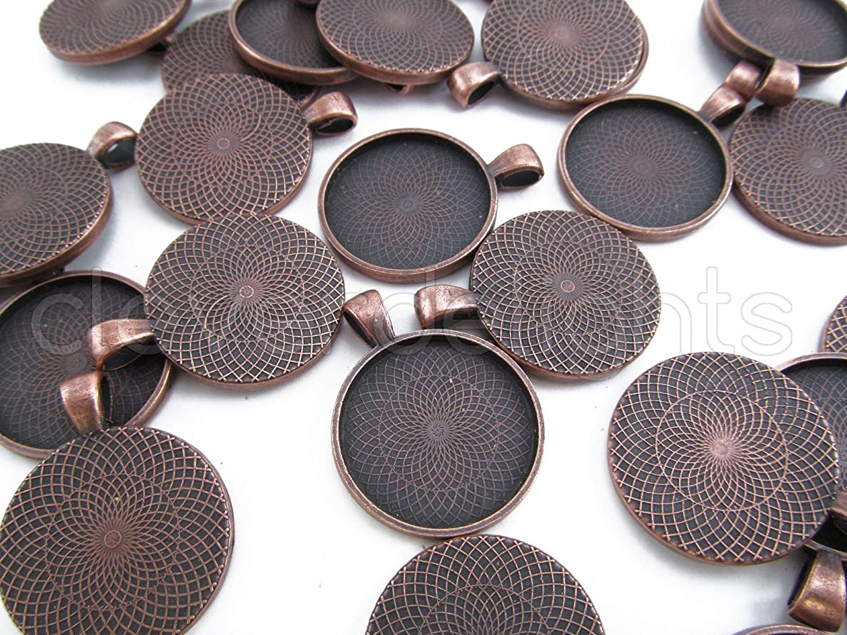 CleverDelights 20 Round Pendant Trays - Antique Copper Color - 25mm 1