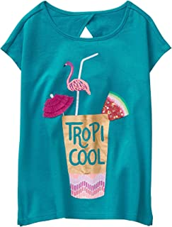 Gymboree Girls' Little Short Sleeve Triangle Back Printed Knit Top