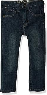 U.S. POLO ASSN. Toddler Boys' Straight Leg Jean, Flex Denim Dark Tinted Indigo, 4T