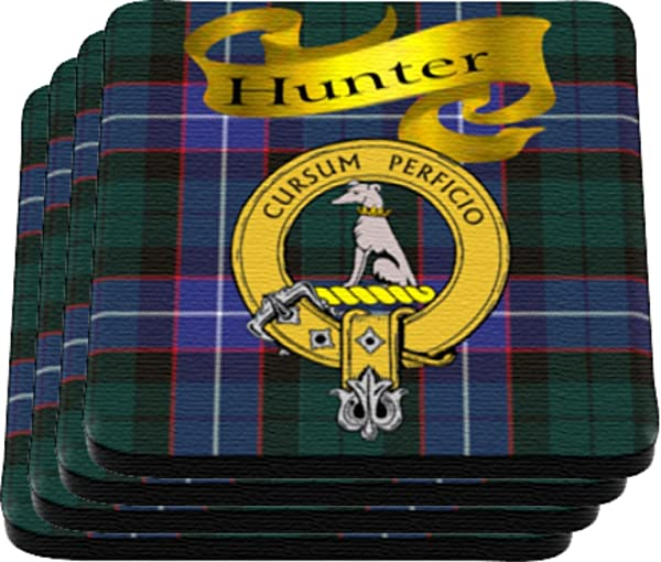 Scottish Clan Hunter Made In USA On Cloth Topped Rubber Coaster Set Of 4