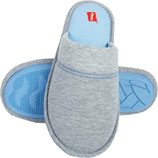 Hanes Womens Comfy Jersey Knit Faux Fur Slip On Scuff Slipper with Memory Foam and Anti-Skid Sole